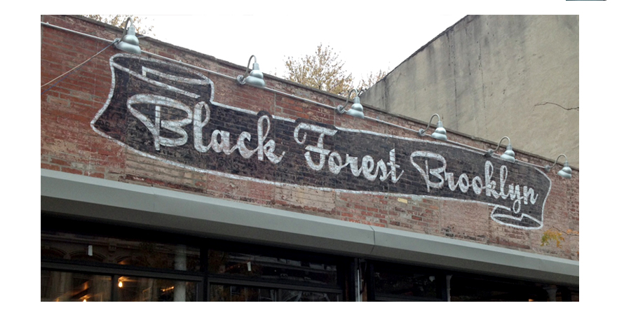 Distressed Lettering on Brick, Black Forest BierGarten, Brooklyn NY