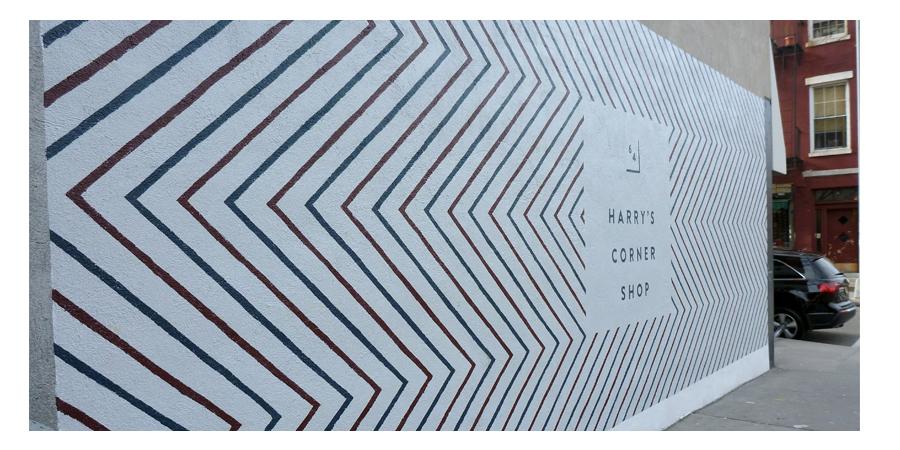 Harry's Corner Shop, Houston St. NYC, Herringbone Pattern and Logo on Stucco