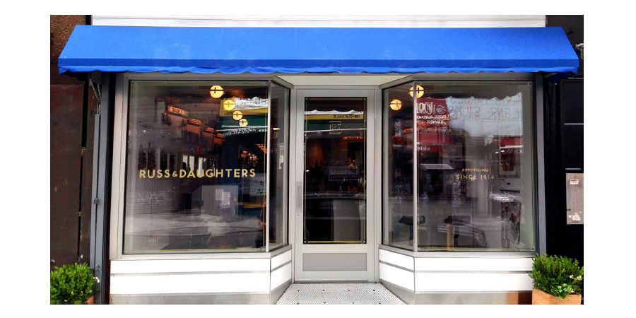 Hand Painted Metallic lettering, Russ and Daughters Cafe, Design by Kelli Anderson